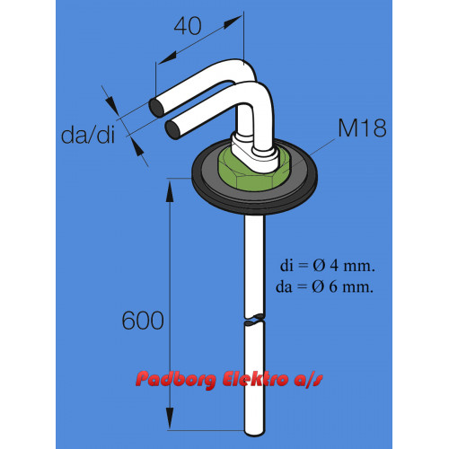 251226894000 - Tank dyk rør med tilbageløb - 600mm. langt.