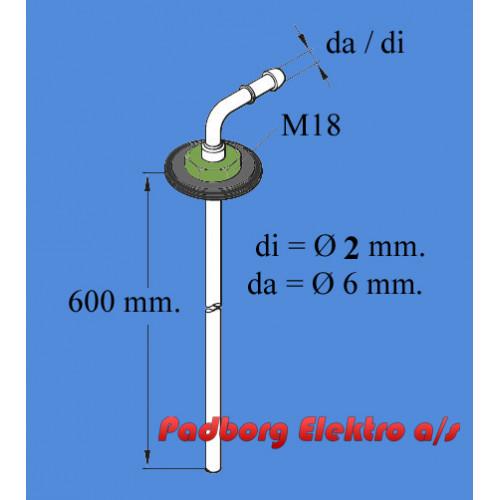 251226895000 - Tank dyk rør - 600mm. langt. diØ2mm./daØ6mm.