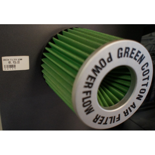 Green Cotton Air Filter - TA1.65 Powerflow Filter - Silver (Cylindrical) 65 M.M. 150 M.M. HØJ.